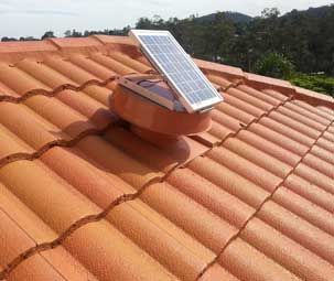 Colour Matched Solar Whiz on Tiled Roof
