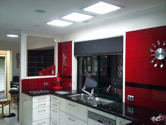 Triple Rectangular Skylights Kitchen